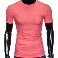 Tricou pentru barbati corai buzunar piept slim fit mulat pe corp bumbac S885