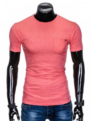 Tricou pentru barbati, corai, buzunar piept, slim fit, mulat pe corp, bumbac - S885 foto