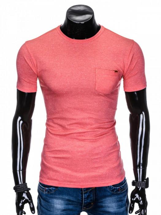 Tricou pentru barbati, corai, buzunar piept, slim fit, mulat pe corp, bumbac - S885