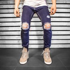 Blugi pentru barbati, bleumarin, slim fit, conici, casual, skinny, rupturi genunchi - 0056