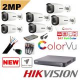 Sistem supraveghere 6 camere Hikvision 2mp Color Vu cu IR 40m (color noapte ) , DVR 8 canale SafetyGuard Surveillance