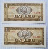 2 bancnote 1 Leu 1966 AUNC Serie consecutiva