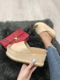 Papuci dama bej cu platforma marime 37, 38, 39, 40+CADOU