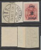 ROMANIA 1945 Ardealul de Nord Oradea I porto 2P pe 2f stampila Prima Zi margine