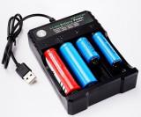 Incarcator Universal Li-Ion Pentru Acumulatori 18650 Cu 4 Porturi Alimentare USB