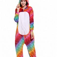 PJM53-319 Pijama intreaga kigurumi, model unicorn multicolor