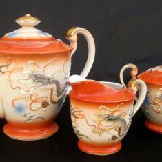 Set Dragon 3 piese cafea portelan China anii 70 ceainic latiera zaharnita