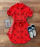 Cumpara ieftin Rochie ieftina casual stil camasa rosie si neagra cu cercuri si cordon in talie