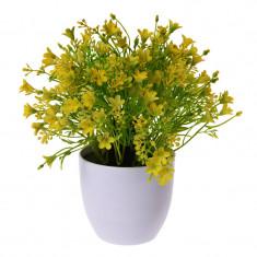 Flori Artificiale Galbene in ghiveci Aspect natural D15cm H totala 24cm Rezistente la umiditate Aspect natural D15cm H totala 24cm
