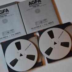 Banda magnetofon 2 X AGFA 18cm.metal impecabile-ptr akai,teac revox