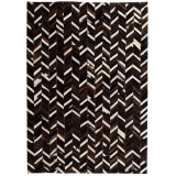 Cumpara ieftin Covor piele naturală, mozaic, 120x170 cm zig-zag Negru/alb