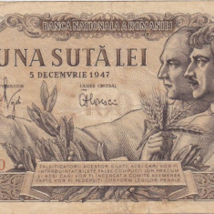 ROMANIA 100 LEI 5 DECEMBRIE 1947 VF