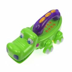 Telefon de jucarie pentru bebelusiin forma de crocodil de la 0-1-3 ani cu melodii si lumini 0052