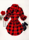 Cumpara ieftin Rochie ieftina casual stil camasa rosie neagra cu carouri si cordon in talie