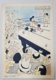 CARICATURA DE LA MECIUL DE BOX DINTRE VIRGIL CAZACU SI CHENDREANU , SEMNATA INDESCIFRABIL , 1950