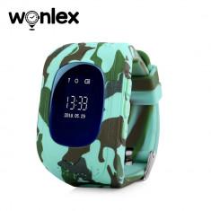 Ceas Smartwatch Pentru Copii Wonlex Q50 cu Functie Telefon, Localizare GPS - Camuflaj Verde, Cartela SIM Cadou