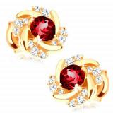 Cumpara ieftin Cercei cu șuruburi din aur 375 - floare formată din rubin roșu, petale răsucite