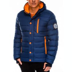 Geaca pentru barbati, bleumarin, ideal ski, de iarna cu gluga, fermoar si nasturi, model slim - c124