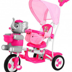 Tricicleta pentru copii cu elefant, roz