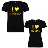 Set 2 Tricouri cuplu I love My Queen si I love My King, negru/auriu