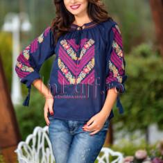 Bluza traditionala bleumarin tip ie cu broderie colorata