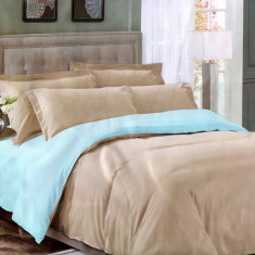 Lenjerie de pat cu 2 fete din Bumbac Satinat pentru 2 persoane cu 4 piese F22 05, 230x250 cm, Set complet