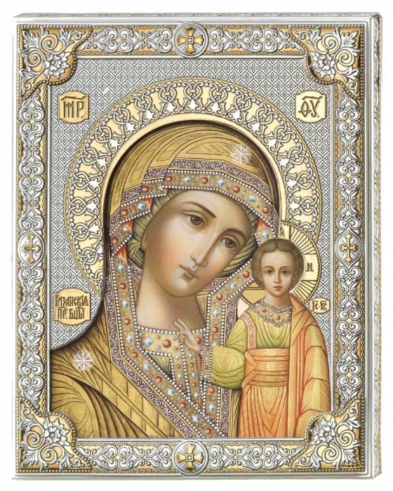 Icoana Maica Domnului de la Kazan ClassGifts pe Foita de Argint 925 cu AuriuColor 20x26cm Cod Produs 2670