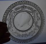Farfurie din sticla decorata cu efigia Regelui Carol I 40 ani domnie 1866 -1906