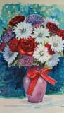 Pictura in acuarela - vaza cu flori, neinramata, semnata