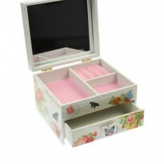 Cutie de bijuterii, din lemn, cu oglinda si sertar, ornament floral - 27457