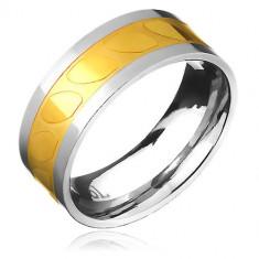 Verighetă din oțel - auriu-argintiu, ovaluri diagonale - Marime inel: 70