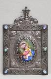 Madona cu Pruncul, portelan pictat incadrat in rama din argint,decorata cu pietre semipretioase,secol 19