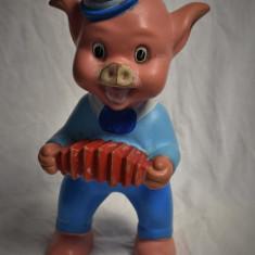 Porc / Purcelus cu acordeon - Aradeanca cauciuc Rubber Toy - Disney