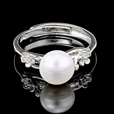 Inel din Argint 925 cu Perla Naturala si Diamante, Eva