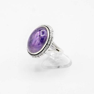 Inel din argint cu ametist cabușon, oval foto