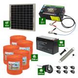 Pachet gard electric cu Panou solar 3,1J putere și 2500m Fir 90Kg cu acumulator