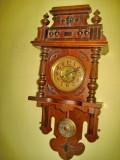 B175-Pendul perete Junghans Original functional vechi 1870-1900 furnir nuc.