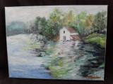 La malul lacului-pictura ulei pe panza