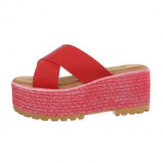 Papuci trendy, rosii, cu platforma, 37 - 39, 41, Rosu