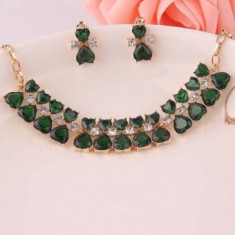 Set bijuterii fashion Heart Green Crystal