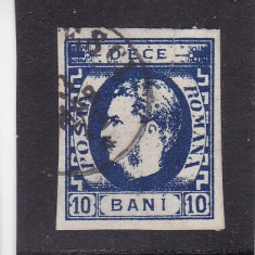 ROMANIA 1869 LP 26 CAROL I CU FAVORITI 10 BANI ALBASTRU POINCON L. PASCANU STAMP