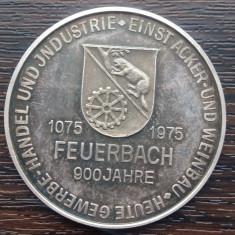 (A162) MEDALIE DIN ARGINT GERMANA - 900 JAHRE FEUERBACH , 25 GR., PURITATE 1000