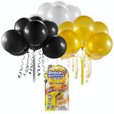 Set baloane Bunch O Ballons Party, 24 bucati, Negru/Auriu/Alb, General