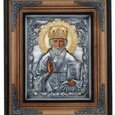 Icoane argintate, Icoana Sfantul Nicolae, dim 40cm x 47,5cm , cod A-06