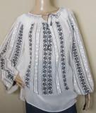 Ie romaneasca brodata manual , camasa populara  lucrata manual panza topita  M-L, M/L, Negru