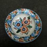 13. Farfurie veche din ceramica pentru agatat pe perete blid vechi lut 22 cm