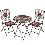 Set de gradina din fier forjat cu masa si doua scaune Antik Brown, Mese si seturi de masa