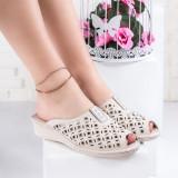Papuci dama cu talpa ortopedica bej Adalie