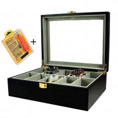 Cutie depozitare ceasuri lemn masiv 10 spatii neagra