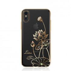 Husa Kingxbar Elegant Series Lotus decorata cu Cristale Swarovski iPhone X golden